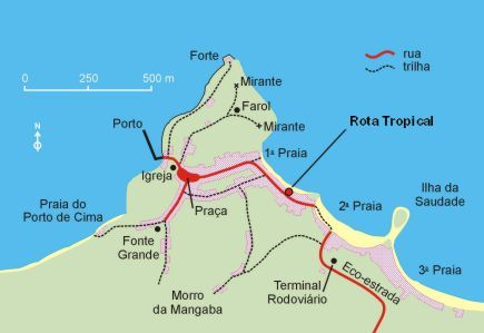 Map of the village of Morro de Sao Paulo